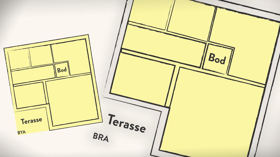 Bebygd areal eller BYA er bygningens «fotavtrykk» på bakken. Bruksareal eller BRA er det arealet av bygninger som kan brukes til noe, og som har målbart areal