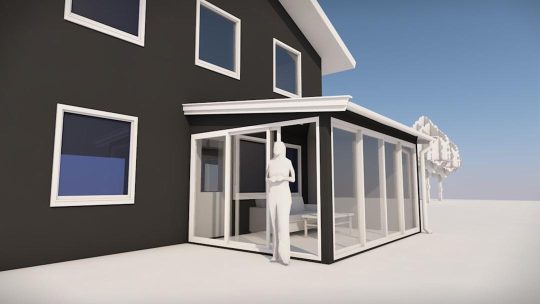 Et 3D-bilde som viser hvordan en hagestue kan se ut etter at tegningene, byggesøknaden og konstruksjonen er fullført.