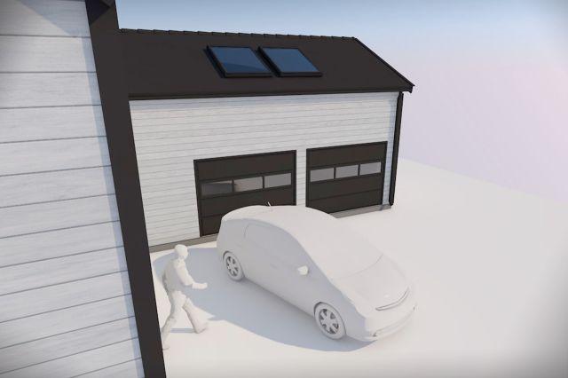 Bilde av en garasje 4 meter fra nabotomten